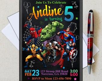 Superhero Invitation/Superhero Birthday Invitation/Avenger Invitation/Boy Invitation/Birthday Invitation/Superhero Birthday/Superhero Party