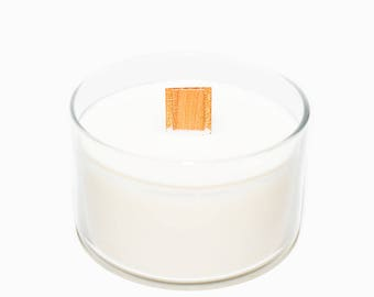 Natural Citronella Soy Candle, outdoor or indoor, all natural mosquito repellent candle with lemongrass essential oil and wood wick, large