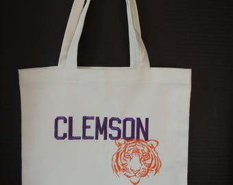 Canvas Tote Bag, Clemson, Tigers, college,