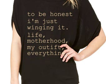 Winging It Shirt / Winging Motherhood Shirt / Mom Shirts / Funny Mom Shirts / Funny T-Shirts / Graphic Tees / Gifts For Her / Gifts For Mom