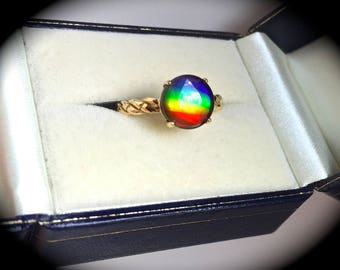 Large 9mm Round Ammolite Ring Yellow Gold Size L (US 6) - 'CERTIFIED' - Exquisite Colours!