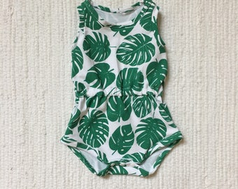 SALE - Summer Romper - Toddler Girl Outfit - One Piece - Green Leaves