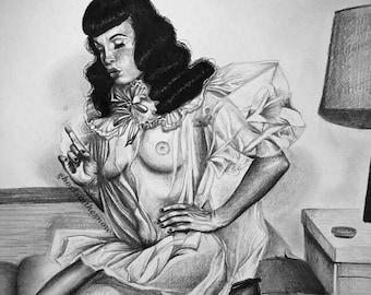 Bedroom Bettie Page print