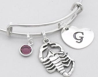 Scorpion bangle bracelet with heart initial | scorpion jewelry | scorpio bracelet | personalised scorpion gift | birthstone