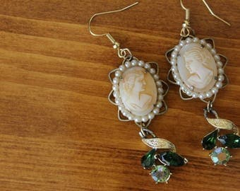 Vintage Handmade Cameo Chandelier Earrings, Vintage Cameo Jewelry, Handmade Special Occasion Earrings, Free Shipping
