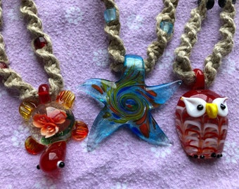 Glass Pendant Hemp Necklaces