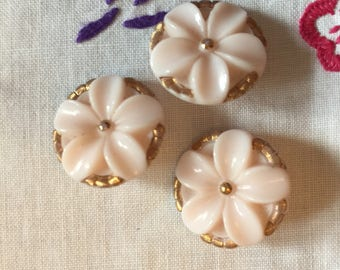 Vintage Relief Pale Pink/Gold Czech floral buttons x 3 with gold