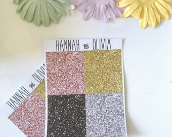 Glitter Headers - ECLP/Happy Planner - neutral Matte Stickers / Planner Stickers