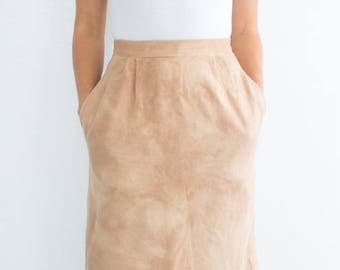 natural dyed vintage wool pencil skirt xs petite upcycled