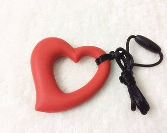 Red Heart Silicone Pendant,For Jewelry Making Pink Heart Silicone Teether, Silicone Necklace, Silicone Pendant, Silicone Sensory Beads