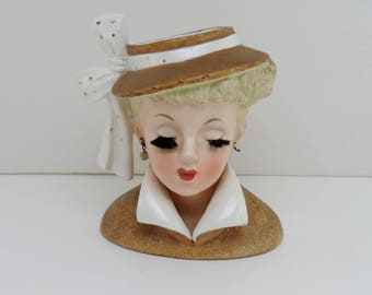 LUCY Head Vase, Vintage 1950s, Napco 1959, Lucille Ball, All Original Paint and Accessories