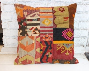 "Bohemian Kilim Pillow, Large Kilim Pillow,Vintage Kilim Pillow,Anatolian Decorative Pillow,Cushion Cover,Rug Pillow,20""x20""inches,50x50 cm"