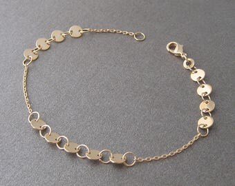 Lozenges on 750/000 gold plated chain bracelet 18 k