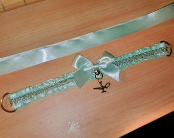 Disney Princess Jasmine from Aladdin Teal and Gold Collar Choker for Petplay, BDSM, Cosplay, Lolita and Everyday Wear