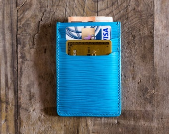 Turquoise leather wallet leather, credit card holder, business card holder, slim wallet,travel wallet, cardholder in leather, minimal wallet