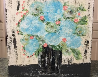 Floral Painting, hydrangea and rose painting, floral painting, blue hydrangea painting, floral art, acrylic painting