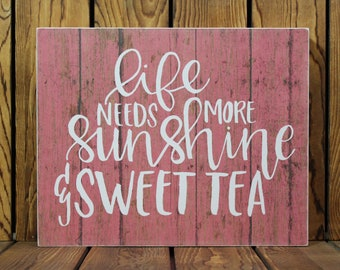 Sunshine & Sweet Tea,Inspirational Quote,Framed Quotes,Framed Wall Art,Birthday Gift Her,Farmhouse Decor,Mothers Day Gift,Rustic Wood Sign