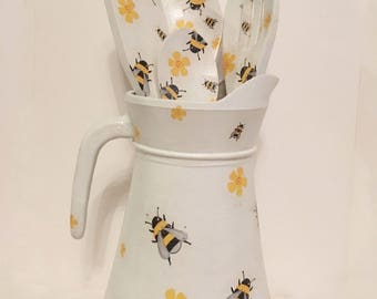 Bumble bee jug and spoon set/ kitchen / vintage decor/ Shabbychic / Handpainted / Decoupage /