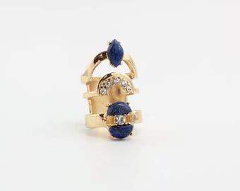 Multistone Ring,Lapis Ring,Gemstone Ring,17mm  Ring