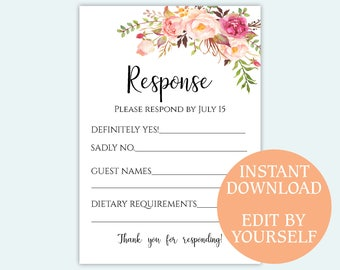 Response Card Editable Rsvp Template Wedding Response Postcard Party Rsvp  PDF Sign DIY Instant Download 3.5