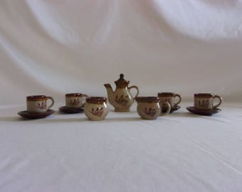 Vintage Brown Wheat 12 Piece Toy Tea Set
