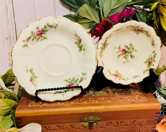 4 Piece Set of Rosenthal Porcelain Saucers And Bowl In Pompadour Shape Antoinette Pattern - Selb Germany US Zone - Pink Roses Gold Trim