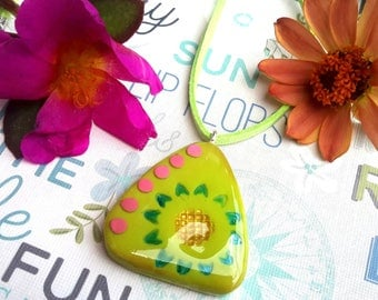 Hawaiian jewelry necklace Beach lovers gift Flower necklace Nature inspired botanical necklace Handmade Polymer clay jewelry Pendant necklac