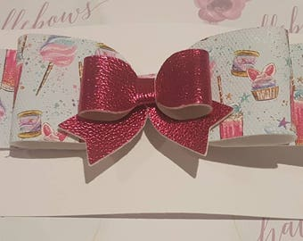 Large pale blue and vibrant pink hair bow