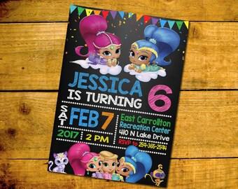 Shimmer And Shine Invitation, Shimmer And Shine Birthday, Shimmer And Shine Birthday Party Invitation