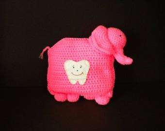Tooth fairy pillow, elephant, kids gift, boy gift,  girl gift, crochet, yarn