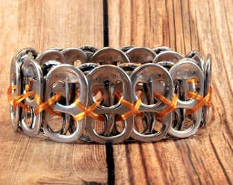 Upcycled Soda Can Tab Bracelet - Orange