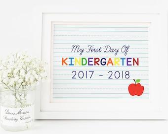 Kindergarten Sign, First Day of Kindergarten, First Day of School Sign, First Day of Kindergarten, First Day Sign