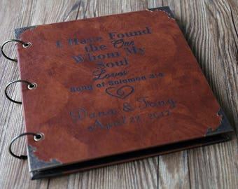 Personalized  Monogram Leather Photo Album /Custom Wedding Guest Book/wedding Scrapbook/Song of Soloman