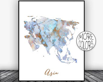 Asia Map Asia Print Asia Continent Map of Asia  Print Office Prints  Watercolor Art ArtPrintsZoe Christmas Gifts
