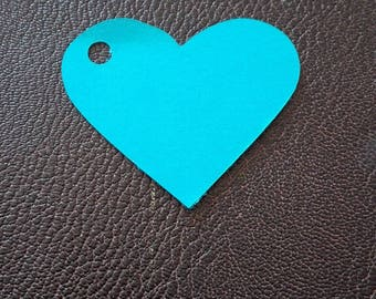 label name heart turquoise x 12
