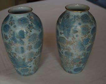 Pair of vases Japanese, blue, gold, vintage