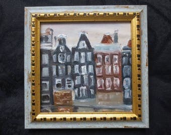 Old city landscape oil painting city buildings abstract city painting building painting amsterdam art amsterdam city amsterdam oil painting