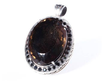 Massive natural Smoky Quartz pendant with natural Black Spinel and Stingray Leather in Sterling Silver 925 EXCLUSIVE! Only one unit!