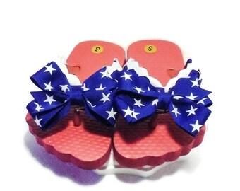 Flip Flops Red White Blue  // Girls Flip Flop Shoes // Toddler Flip Flops // Girls Sandals // Ribbon Flip Flops