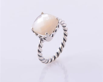 Mother of Pearl Path Ring, 100% 925 Sterling Silver Ring Fits to all Pandora Jewelry Diy, Fine jewelry European Style