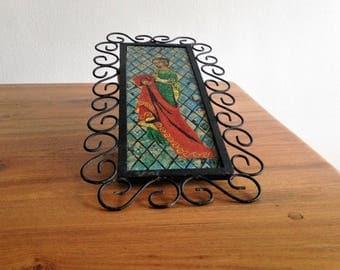 Vintage signed paper - black wrought iron frame - mosaic