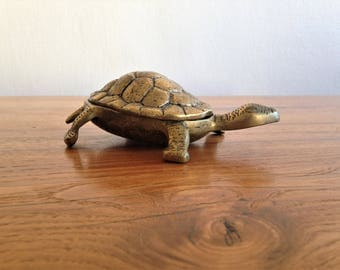 Brass - turtle - vintage box