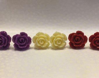 Rose Stud Earring Set of 4 Pairs