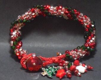 Christmas Bracelet with Enamel Tree