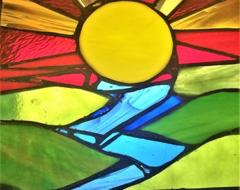 Sunrise on the River Stained Glass Panel