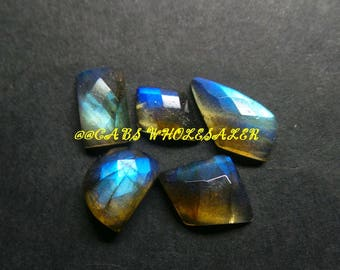 5 Pcs - Natural Labradorite One Side Checker Cut Fancy Cabochon - 9-13 MM - Labradorite Cabochons - High Quality - Wholesalegems