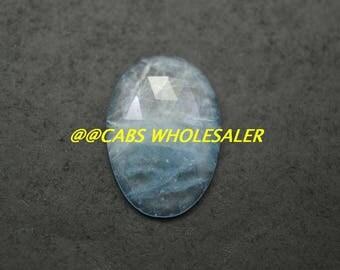 Aquamarine Gemstone Cabochon, Aquamarine Cabochons, Natural Aquamarine Faceted Rose Cut Fancy Slice Cabs, 30x20x5 MM, 1 PC, Wholesalegems