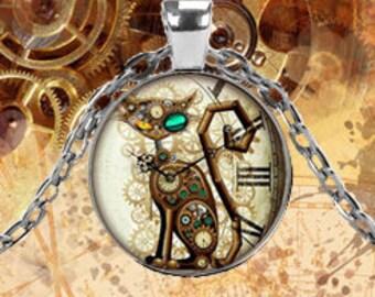 Steampunk Cat Clock Pendant