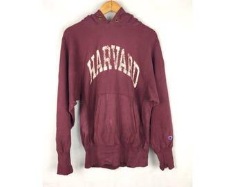 CHAMPION HARVARD Hoodies Made in USA Hoodies With Big Spell Out Harvard Medium Size Hoodies