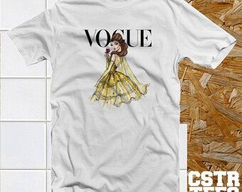 Belle Disney Princess Vogue Inspired White Ladies T Shirt